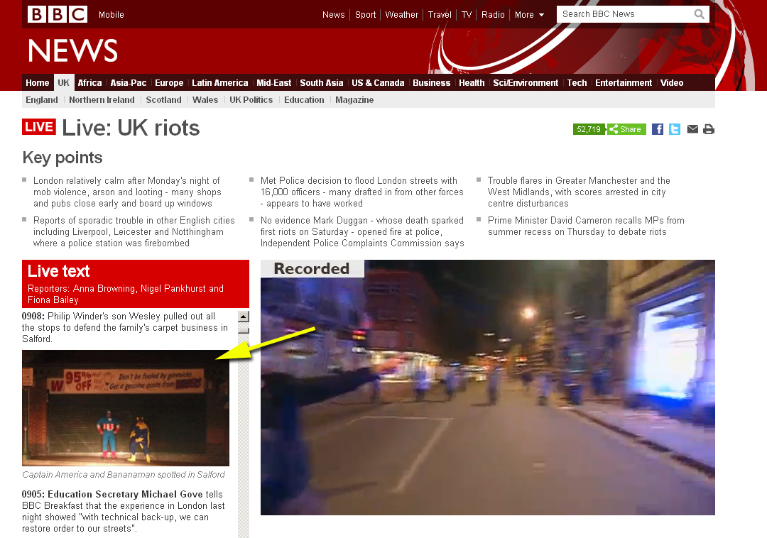 Bananaman und Captain America greifen ein. Screenshot: BBC News