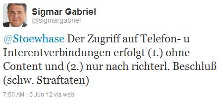 @Stoewhase Der Zugriff auf Telefon- u Interentverbindungen erfolgt (1.) ohne Content und (2.) nur nach richterl. Beschluß (schw. Straftaten)