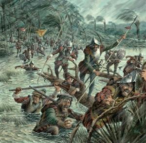 Spanische Sodaten attackieren Fort Caroline während eines Hurrikans