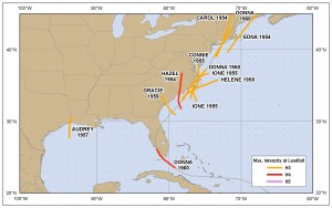 Hurrikane 1951-1960 Stärke 3-5