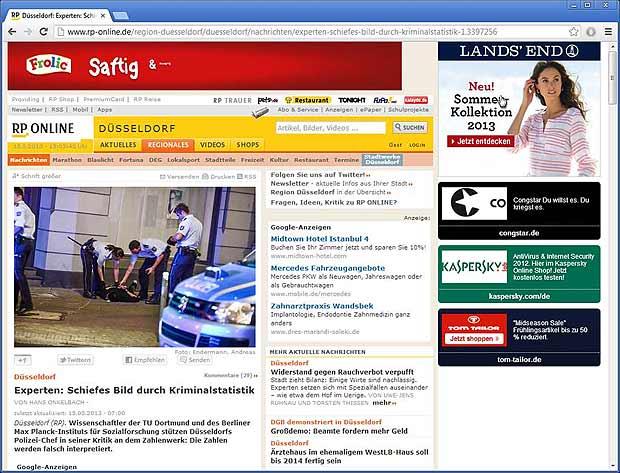 Screenshot: Lustiges Artikelsuchen bei rp-online.de