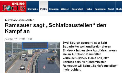 2011: Schlafbaustellen - Ramsauer ist sauer
