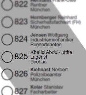 Ausschnitt Wahlzettel für die Zweitstimme Stimmkreis München-Schwabing