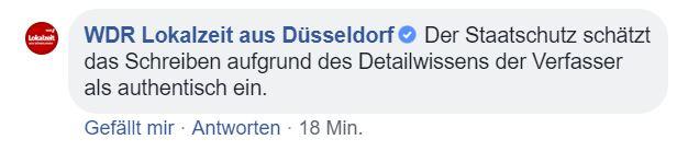 WDR Lokalzeit Antwort Facebook Bekennerschreiben